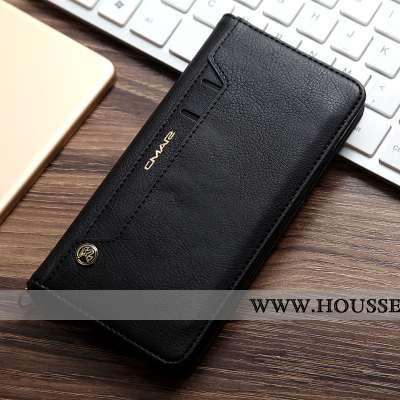 Coque iPhone Xs Max Portefeuille Cuir Téléphone Portable Véritable Housse Noir