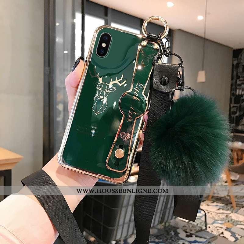 Coque iPhone Xs Max Tendance Silicone Téléphone Portable Vert Net Rouge Personnalité Mode Turquoise