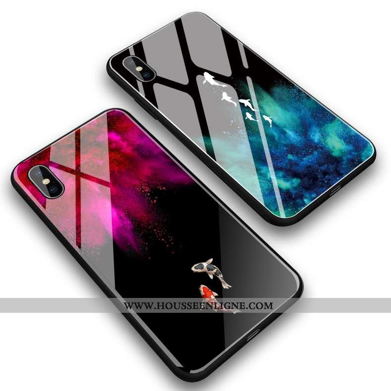 Coque iPhone Xs Max Verre Créatif Petit Miroir Étui Simple Tout Compris Rouge
