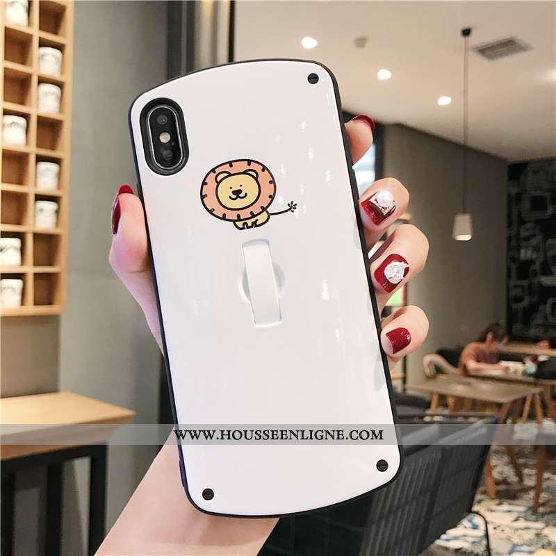 Coque iPhone Xs Personnalité Créatif Anneau Tout Compris Support Dessin Animé Blanche
