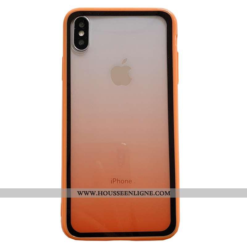Coque iPhone Xs Personnalité Créatif Incassable Téléphone Portable Transparent Silicone Orange