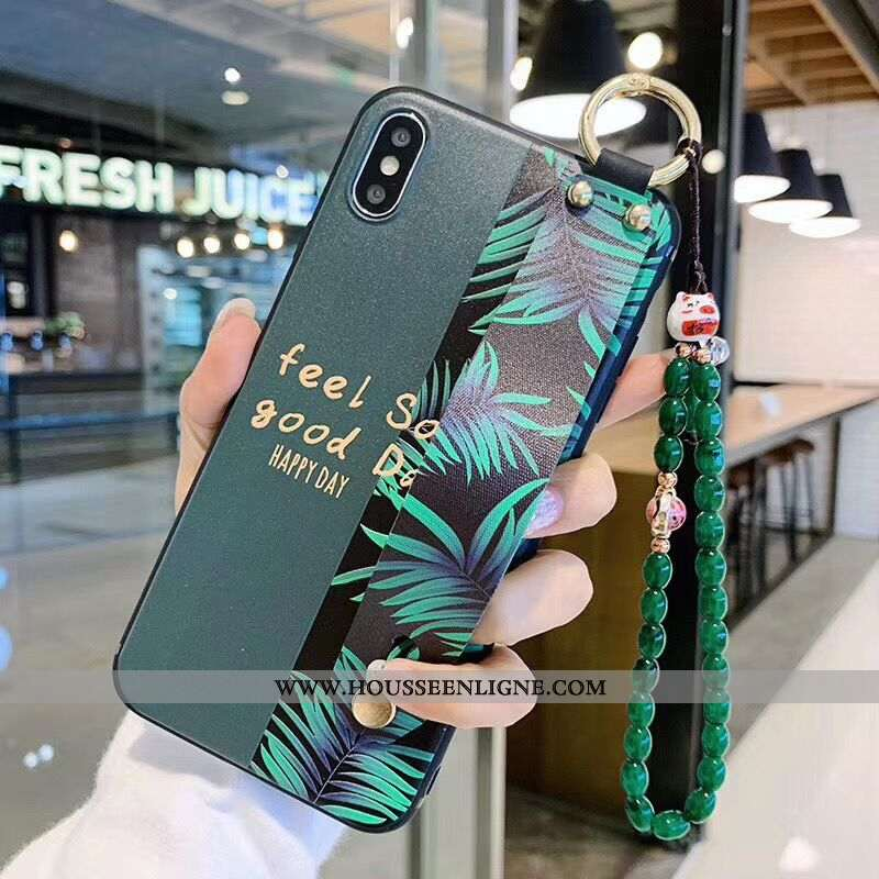 Coque iPhone Xs Silicone Protection Lapin Fluide Doux Charmant Amoureux Support Verte