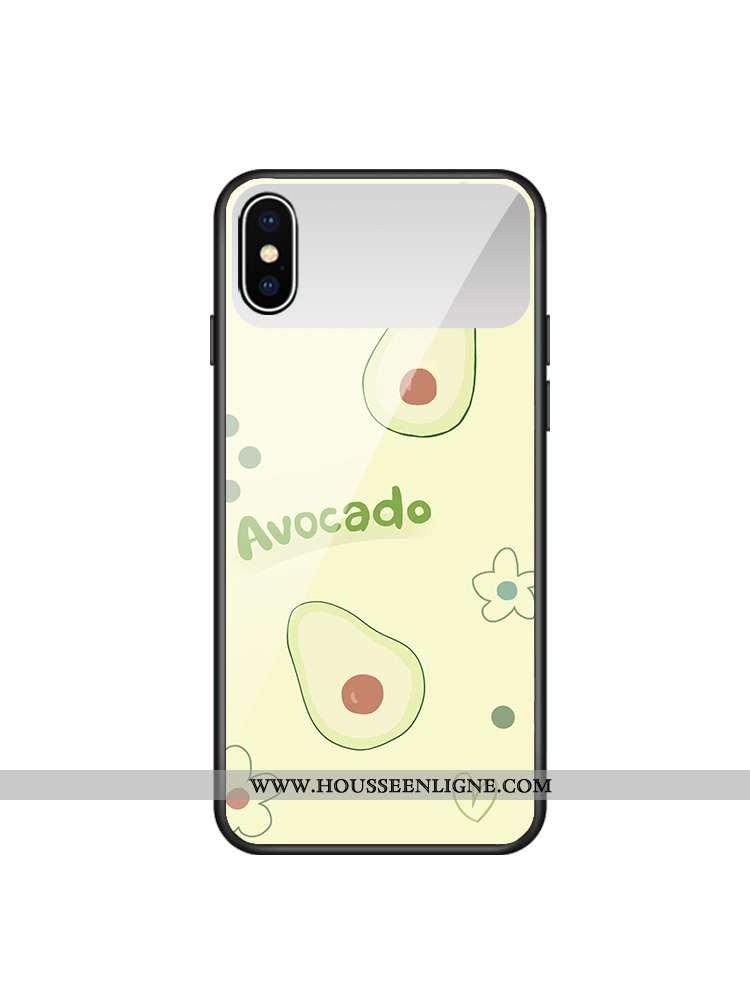 Coque iPhone Xs Verre Frais Cœur Maquillage Téléphone Portable Bovins Verte