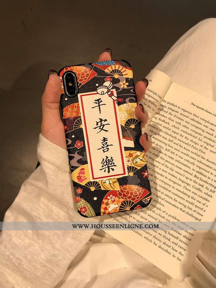 Coque iPhone Xs Vintage Modèle Fleurie Téléphone Portable Étui Soie Mulberry Créatif Incassable Noir