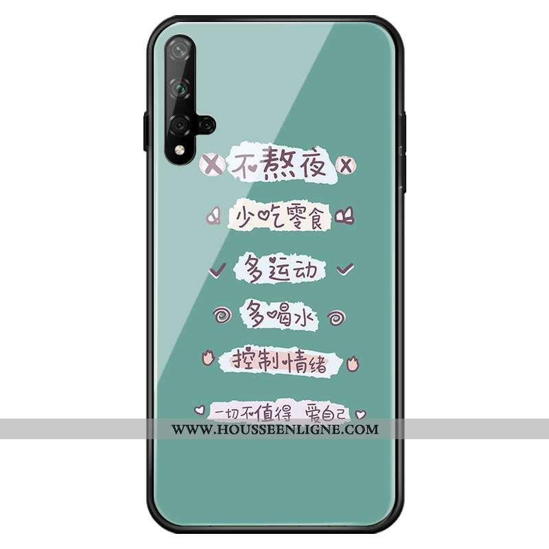 Housse Honor 20 Protection Verre Coque Vert Téléphone Portable Jeunesse Créatif Verte