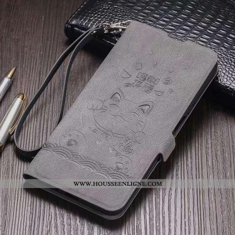 Housse Honor 9x Fluide Doux Silicone Cuir Coque Téléphone Portable Étui Modèle Fleurie Gris