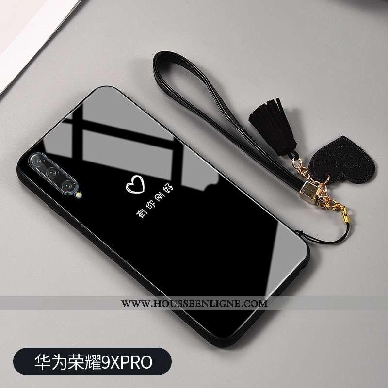 Housse Honor 9x Pro Mode Protection Verre Net Rouge Noir Clair Téléphone Portable