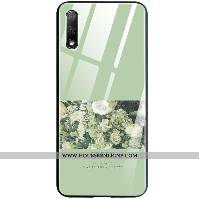 Housse Honor 9x Silicone Verre Vert Créatif Incassable Téléphone Portable Coque Verte