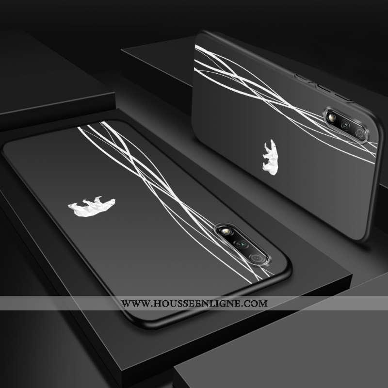 Housse Honor 9x Ultra Légère Coque Silicone Téléphone Portable Délavé En Daim Jeunesse Noir