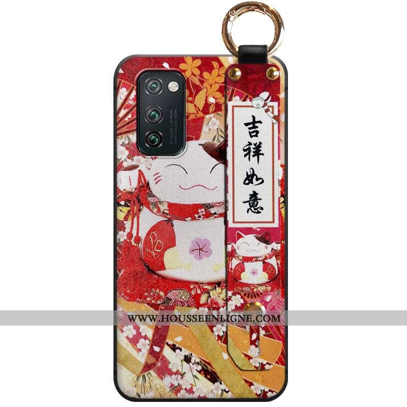Housse Honor View30 Fluide Doux Personnalité Ornements Suspendus Téléphone Portable Coque Chat Rouge