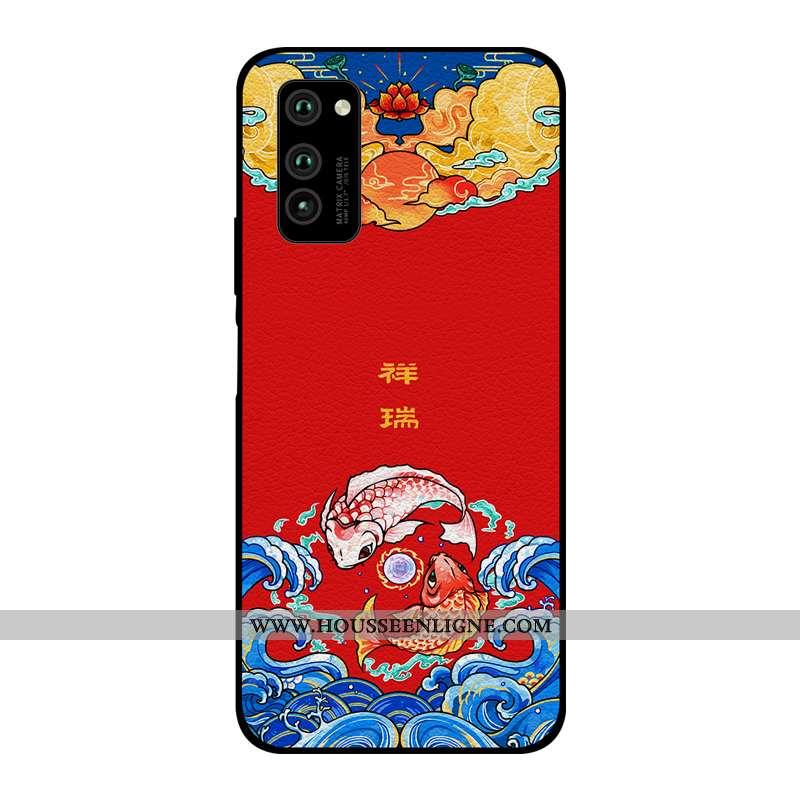 Housse Honor View30 Pro Cuir Modèle Fleurie Nouveau Amoureux Coque Personnalité Style Chinois Rouge
