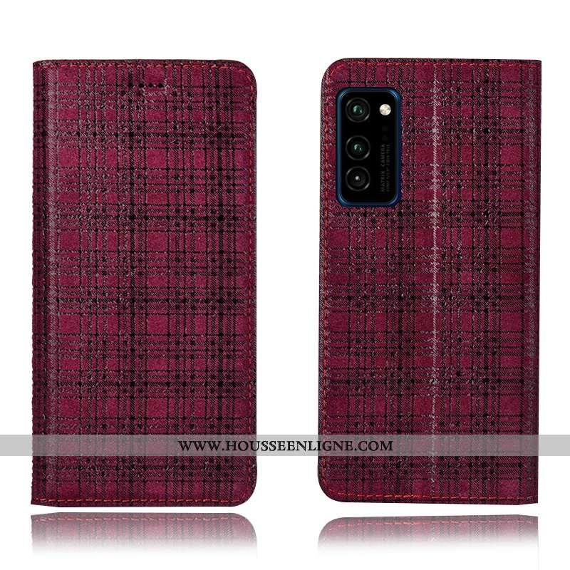 Housse Honor View30 Pro Cuir Véritable Modèle Fleurie Incassable Vin Rouge Plaid Coque Téléphone Por