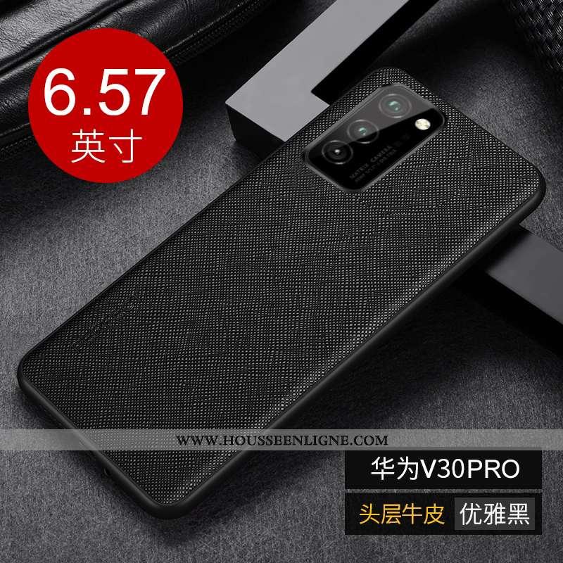 Housse Honor View30 Pro Luxe Personnalité Cuir Véritable Protection Noir Téléphone Portable Créatif