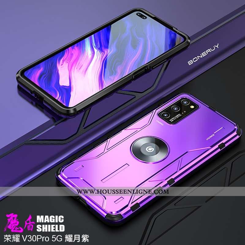 Housse Honor View30 Pro Métal Délavé En Daim Silicone Incassable Violet Étui Ultra