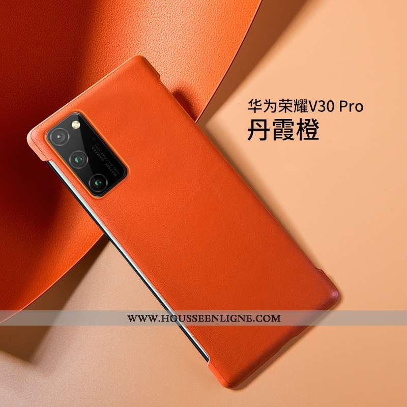 Housse Honor View30 Pro Ultra Légère Cuir Haut Nouveau Luxe Silicone Téléphone Portable Orange