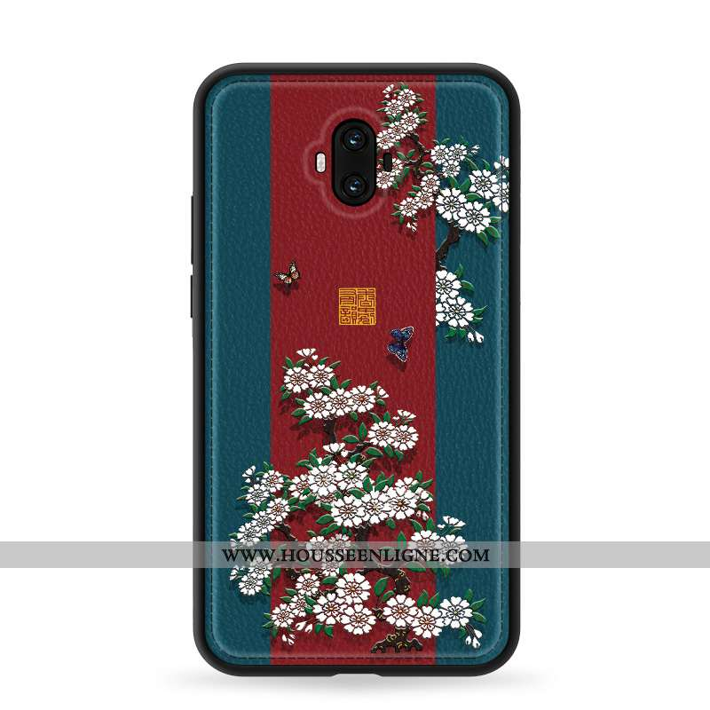 Housse Huawei Mate 10 Gaufrage Tendance Style Chinois Silicone Téléphone Portable Mode Étui Bleu Fon