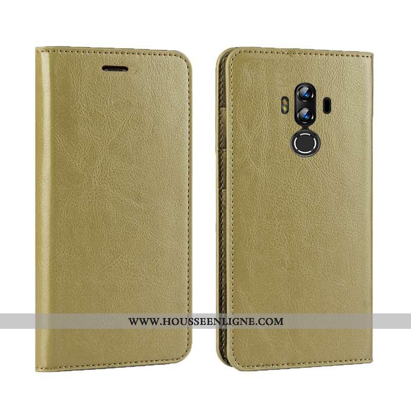 Housse Huawei Mate 10 Pro Cuir Véritable Cuir Téléphone Portable Étui Luxe Coque Or Doré