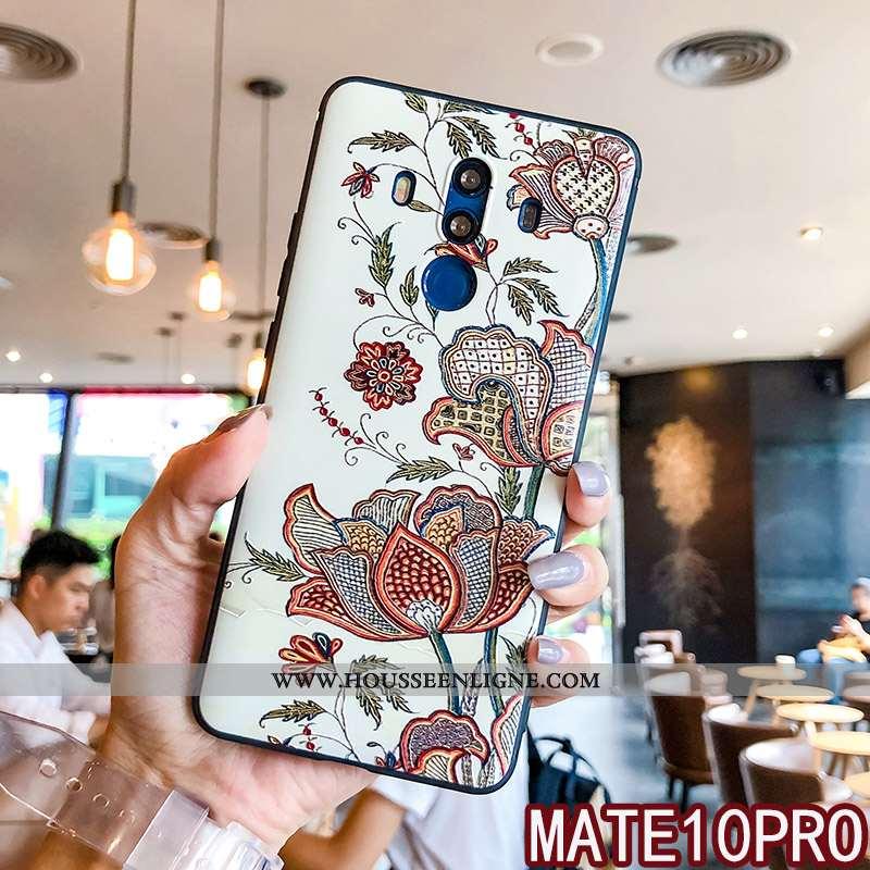 Housse Huawei Mate 10 Pro Ornements Suspendus Gaufrage Silicone Blanc Protection Coque Fluide Doux B