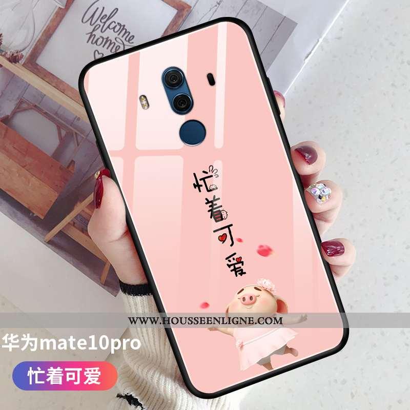 Housse Huawei Mate 10 Pro Ultra Tendance Verre Créatif Coque Petit Téléphone Portable Rose
