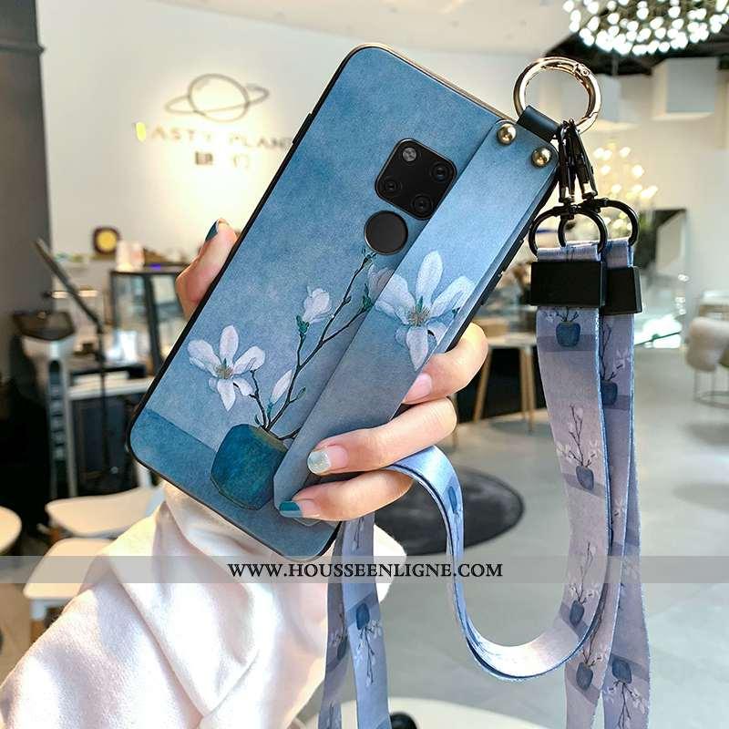 Housse Huawei Mate 20 Fluide Doux Silicone Art Frais Petit Protection Étui Bleu