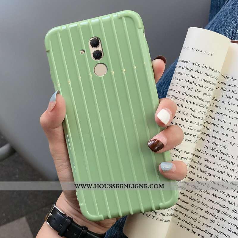 Housse Huawei Mate 20 Lite Fluide Doux Téléphone Portable Étui Couleur Unie Coque Vert Verte