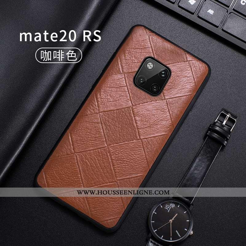 Housse Huawei Mate 20 Rs Cuir Véritable Ultra Incassable Tout Compris Bovins Fluide Doux Luxe Marron