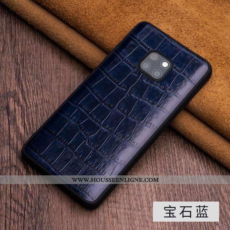 Housse Huawei Mate 20 Rs Luxe Cuir Véritable Cuir Business Coque Étui Téléphone Portable Bleu