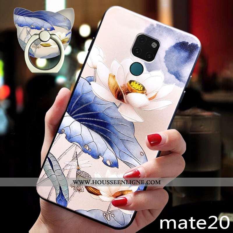 Housse Huawei Mate 20 Silicone Protection Coque Téléphone Portable Style Chinois Fluide Doux Étui Bl