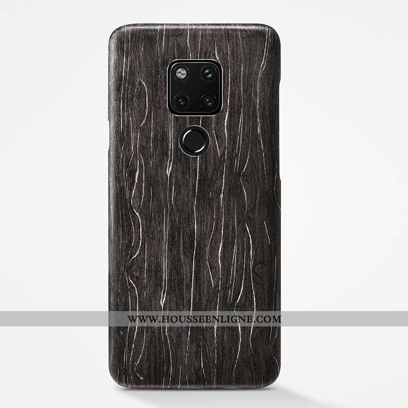 Housse Huawei Mate 20 X Personnalité En Bois Ultra Étui Noir Tendance Téléphone Portable