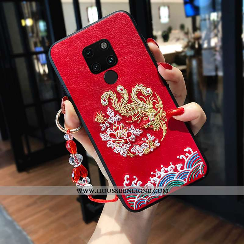 Housse Huawei Mate 20 X Silicone Broderie Rouge Téléphone Portable Style Chinois Amoureux Tendance
