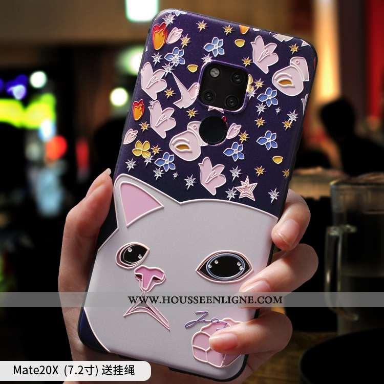 Housse Huawei Mate 20 X Silicone Tout Compris Téléphone Portable Bleu Marin Coque Bleu Foncé