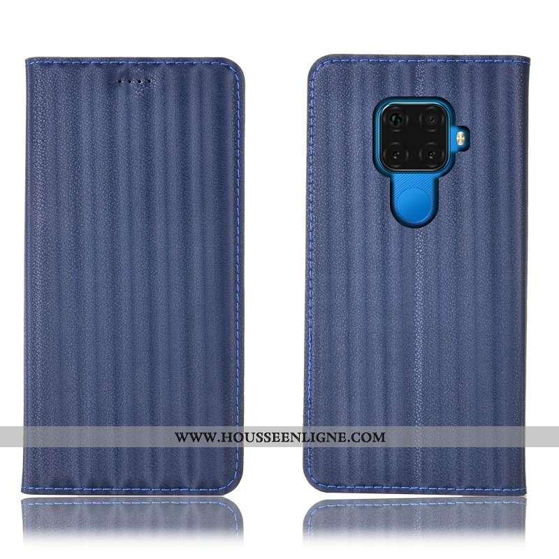 Housse Huawei Mate 30 Lite Protection Cuir Véritable Incassable Coque Modèle Fleurie Bleu Marin Dégr