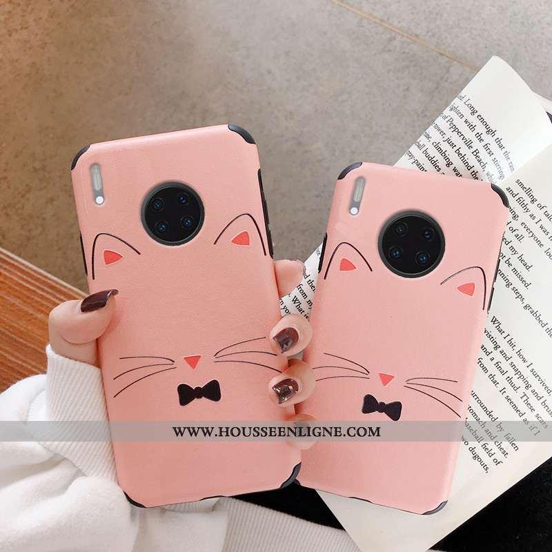 Housse Huawei Mate 30 Pro Charmant Protection Téléphone Portable Étui Chat Créatif Antidérapant Rose