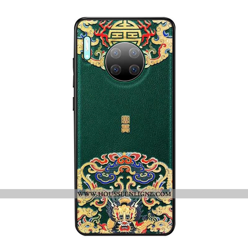 Housse Huawei Mate 30 Pro Personnalité Créatif Cuir Vintage Étui Téléphone Portable Net Rouge Verte