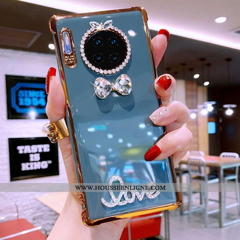 Housse Huawei Mate 30 Pro Protection Luxe Téléphone Portable Fluide Doux Strass Étui Coque Bleu