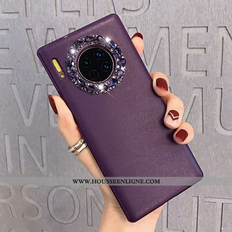 Housse Huawei Mate 30 Protection Strass Tout Compris Cuir Net Rouge Téléphone Portable Violet