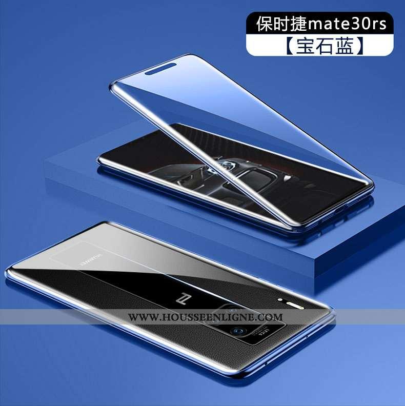 Housse Huawei Mate 30 Rs Verre Transparent Coque Bleu Tempérer Téléphone Portable