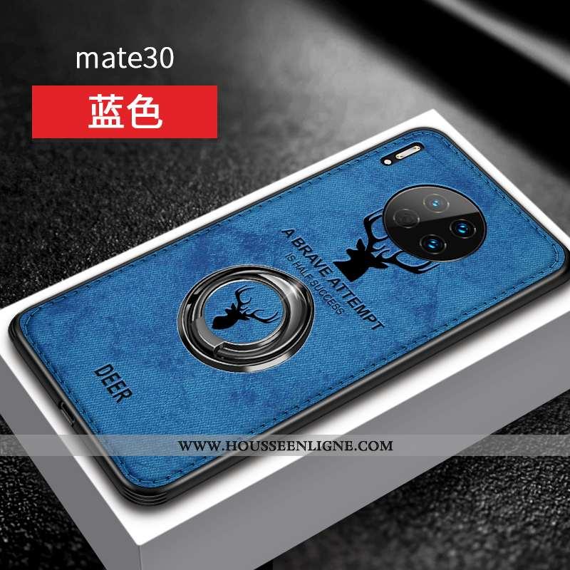 Housse Huawei Mate 30 Silicone Protection Étui Luxe Tout Compris Anneau Créatif Bleu