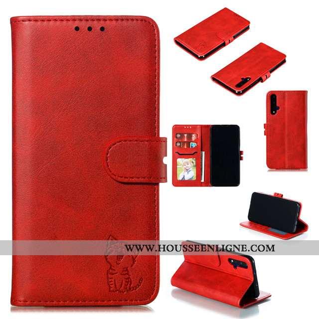 Housse Huawei Nova 5t Créatif Cuir Étui Tout Compris Rouge Luxe Silicone