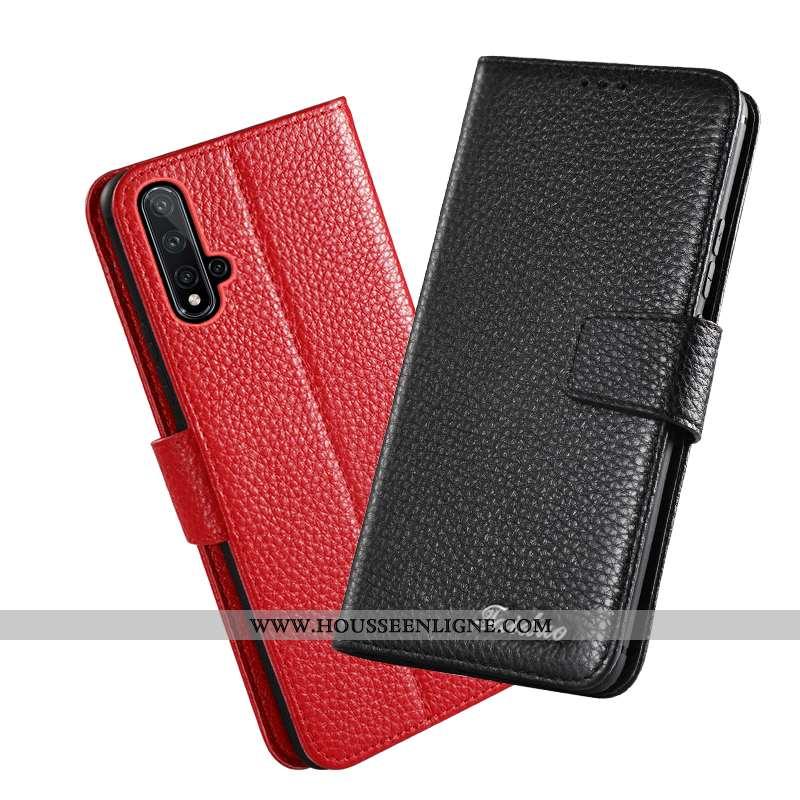 Housse Huawei Nova 5t Cuir Véritable Protection Rouge Coque Téléphone Portable Nouveau