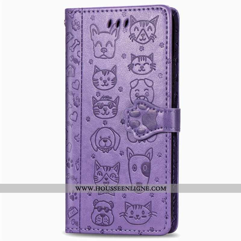 Housse Huawei Nova 5t Gaufrage Dessin Animé Chiens Incassable Téléphone Portable Étui Chat Violet