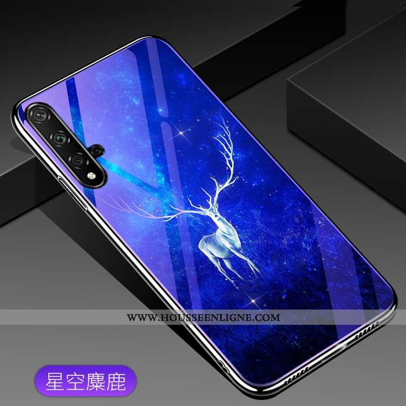 Housse Huawei Nova 5t Mode Verre Téléphone Portable Étui Coque Tendance Bleu
