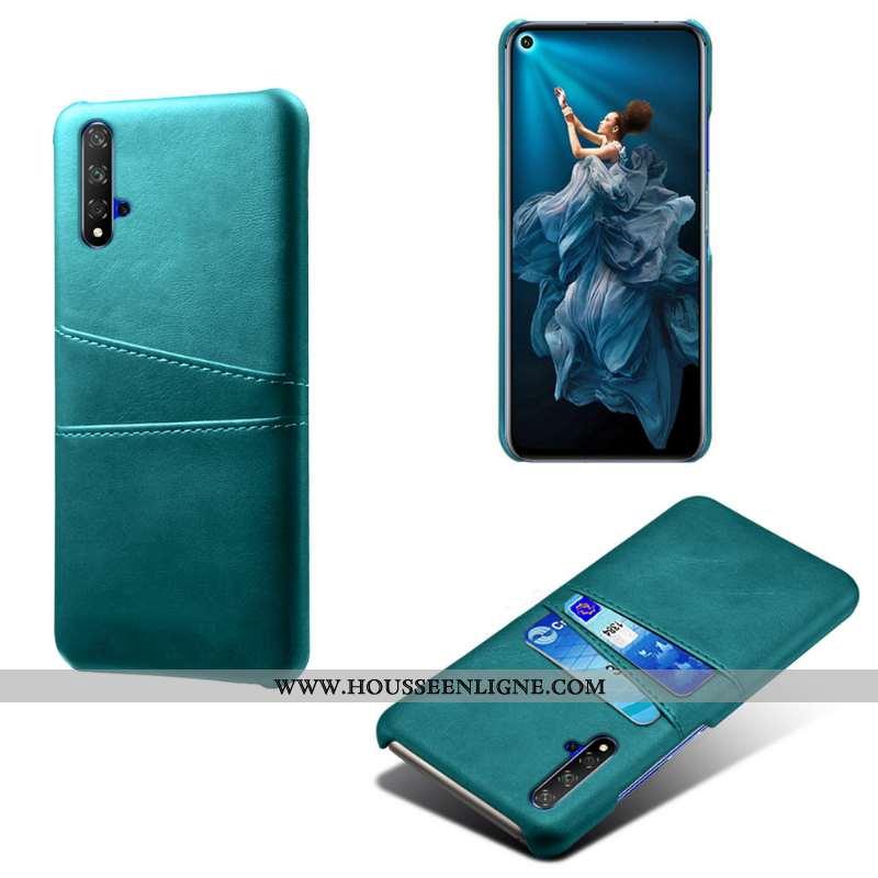 Housse Huawei Nova 5t Protection Cuir Qualité Téléphone Portable Carte Incassable Coque Verte