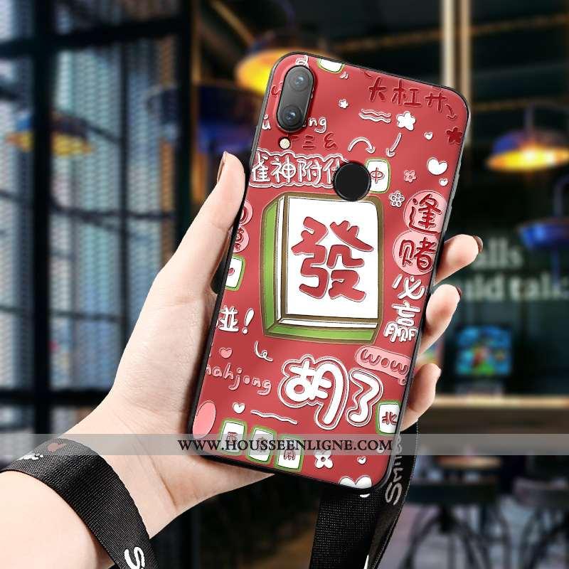 Housse Huawei P Smart 2020 Charmant Tendance Protection Étui Silicone Dimensionnel Coque Rouge