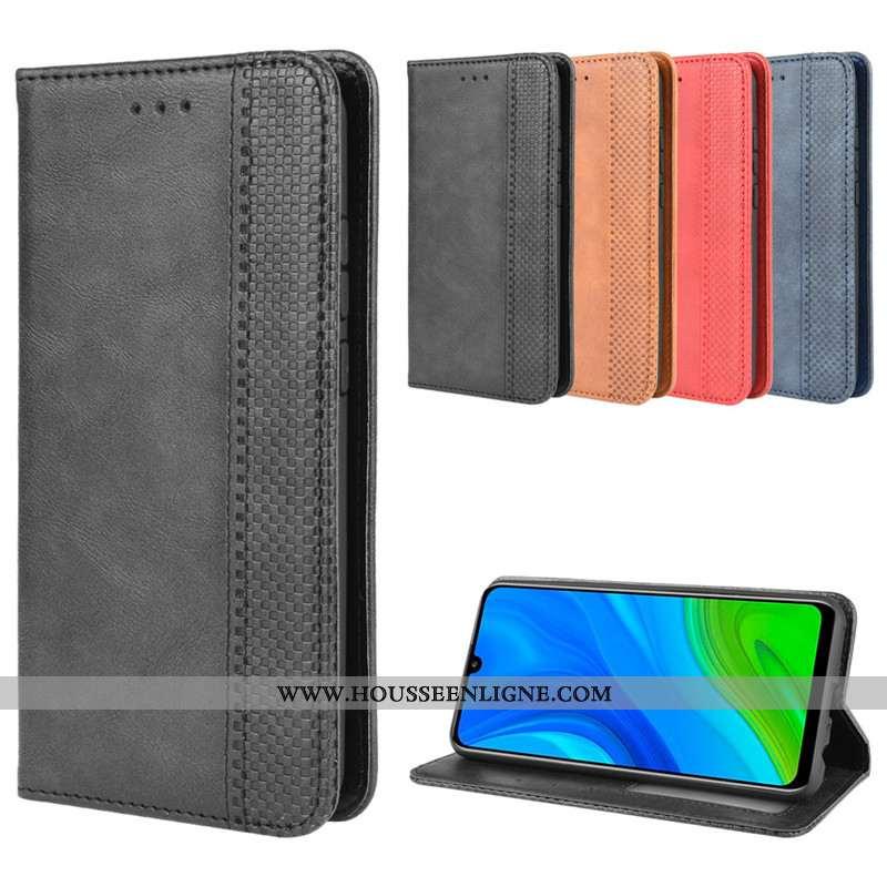 Housse Huawei P Smart 2020 Cuir Protection Noir Coque Téléphone Portable Étui