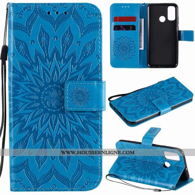 Housse Huawei P Smart 2020 Cuir Téléphone Portable Carte Coque Incassable Bleu Étui