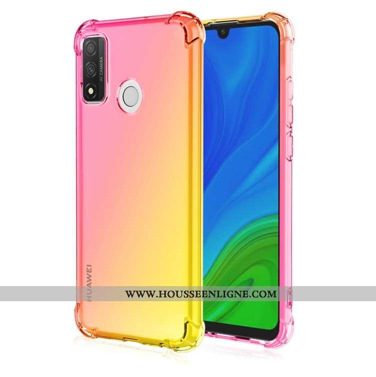 Housse Huawei P Smart 2020 Fluide Doux Incassable Étui Téléphone Portable Dégradé Pu Ballon Jaune