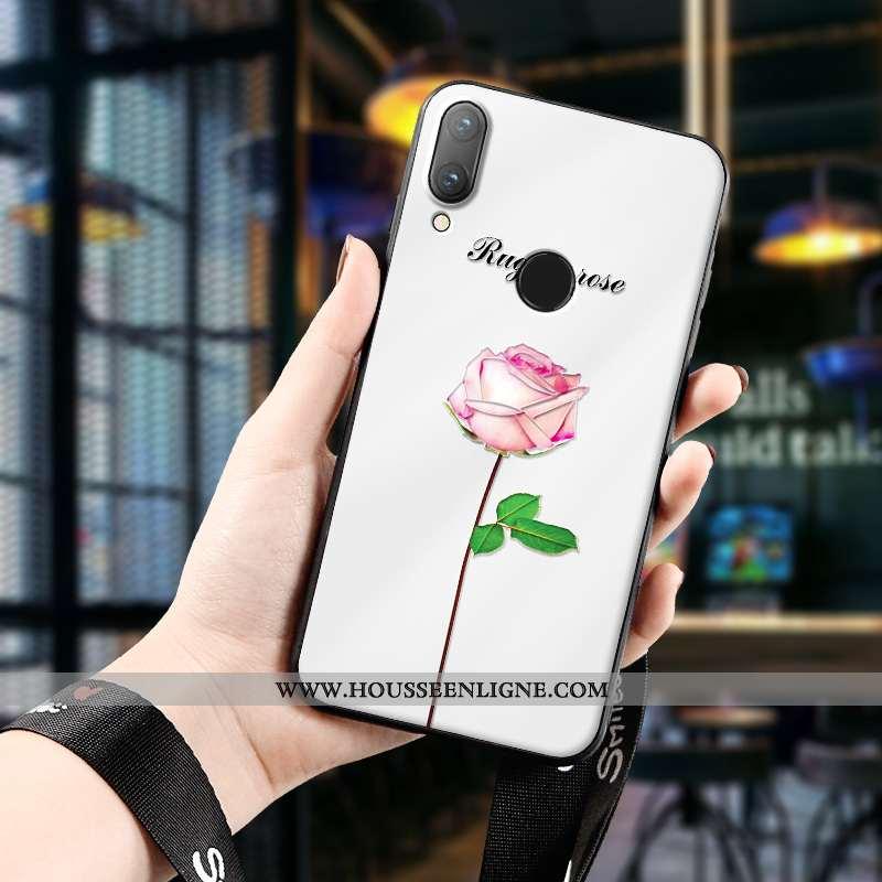 Housse Huawei P Smart 2020 Ultra Légère Nouveau Gaufrage Simple Vert Dimensionnel Blanche