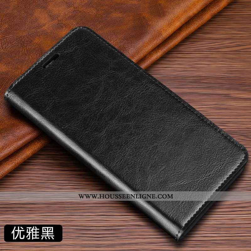 Housse Huawei P Smart Cuir Véritable Cuir Business Couleur Unie Simple Carte Noir