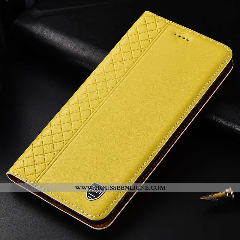 Housse Huawei P Smart Cuir Véritable Cuir Plaid Téléphone Portable Jaune Tout Compris Étui